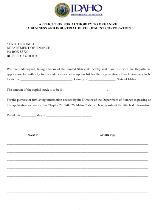 """Application for Authority to Organize a Business and Industrial Development Corporation"" - Idaho Download Pdf"