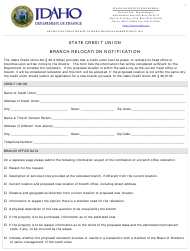 """Branch Relocation Notification Form"" - Idaho"