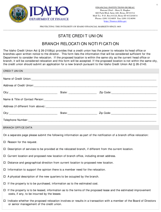 Branch Relocation Notification Form - Idaho Download Pdf