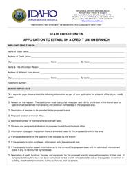 """Application to Establish a Credit Union Branch"" - Idaho"