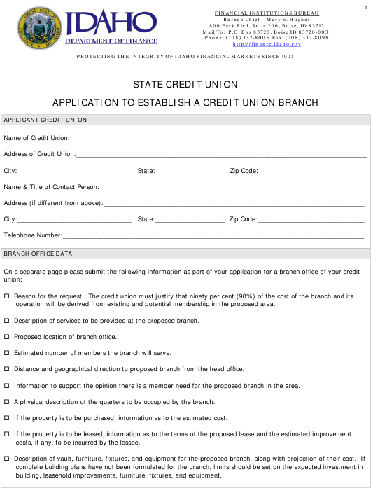 """Application to Establish a Credit Union Branch"" - Idaho Download Pdf"