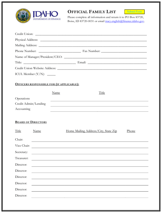 Official Family List - Idaho Download Pdf
