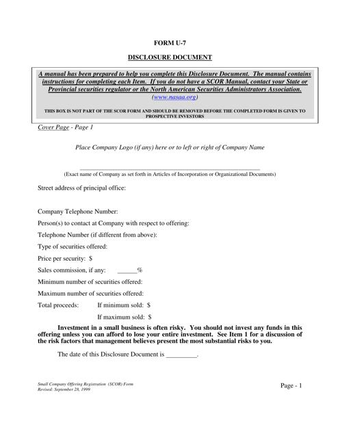 Form U-7  Printable Pdf
