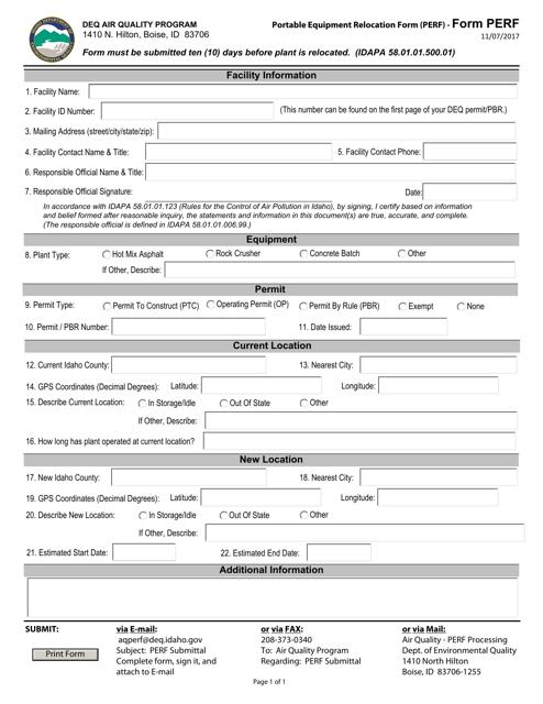 Form PERF Printable Pdf