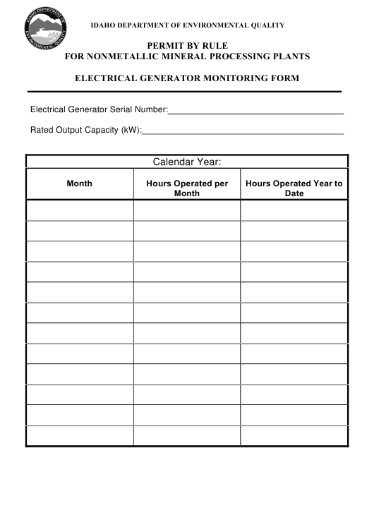 Electrical Generator Monitoring Form - Permit by Rule for Nonmetallic Mineral Processing Plants - Idaho Download Pdf