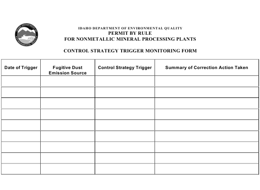 """""""Control Strategy Trigger Monitoring Form - Permit by Rule for Nonmetallic Mineral Processing Plants"""" - Idaho Download Pdf"""