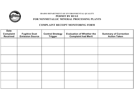 Permit by Rule for Nonmetallic Mineral Processing Plants - Complaint Receipt Monitoring Form - Idaho Download Pdf