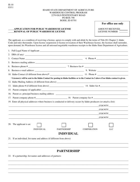 Form IS-10 Printable Pdf
