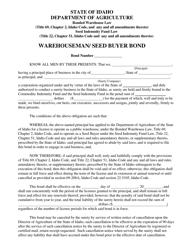 Warehouseman/ Seed Buyer Bond Form - Idaho