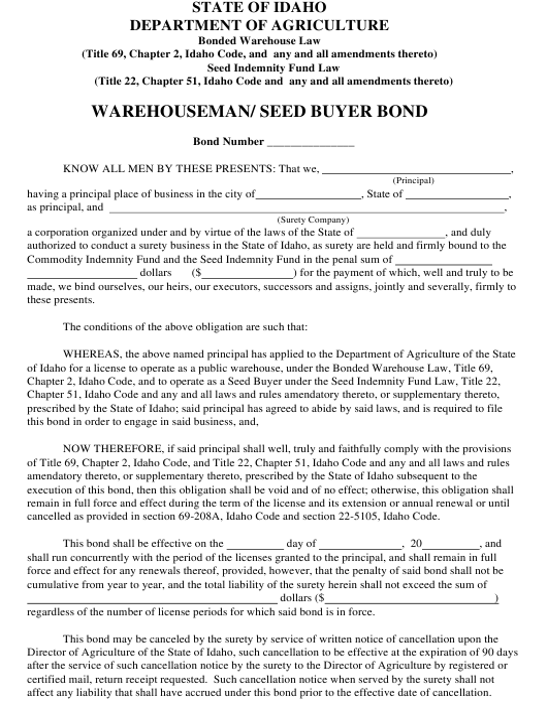 """Warehouseman/ Seed Buyer Bond Form"" - Idaho Download Pdf"