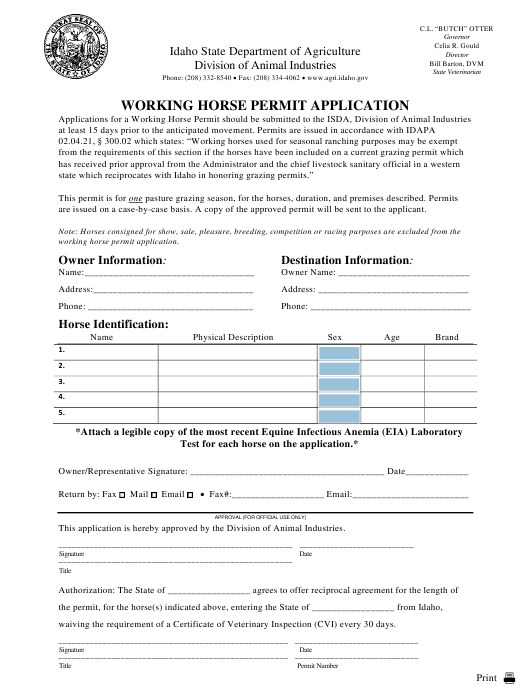 Working Horse Permit Application Form - Idaho Download Pdf