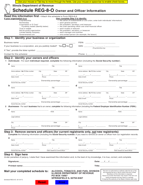 Schedule REG-8-O Printable Pdf