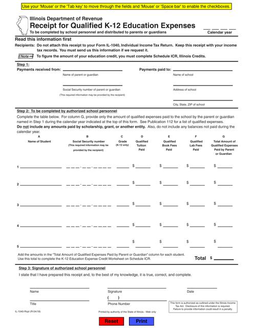 Form IL-1040-RCPT Fillable Pdf