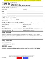 Form ETS-33 Application for Duplicate Credit Memorandum - Illinois