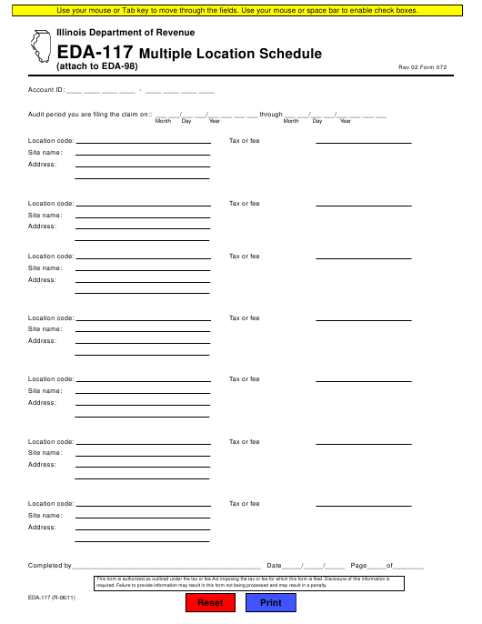 Form 072 (EDA-117)  Printable Pdf