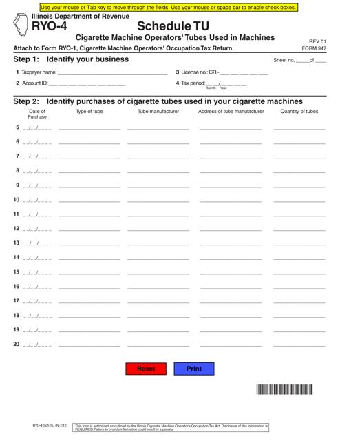 Form RYO-4 Schedule TU Printable Pdf