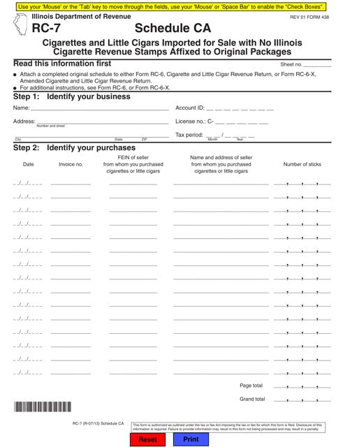 Form RC-7 Fillable Pdf