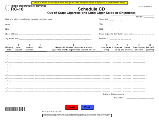 Form RC-10 Schedule CD Printable Pdf