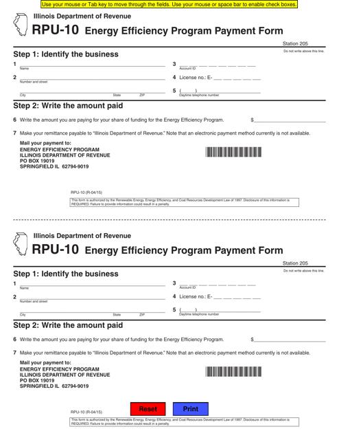 Form RPU-10 Download Fillable PDF, Energy Efficiency Program