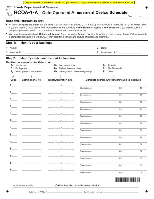 Form RCOA-1-A Fillable Pdf