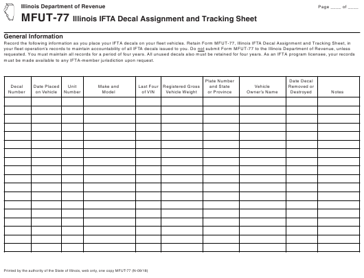 image about Printable Assignment Sheet titled Sort MFUT-77 Obtain Printable PDF, Illinois Ifta Decal