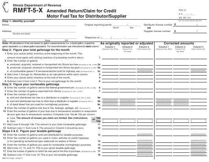 Form RMFT-5-X Printable Pdf