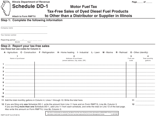 Form RMFT-33-DF Schedule DD-1 Printable Pdf