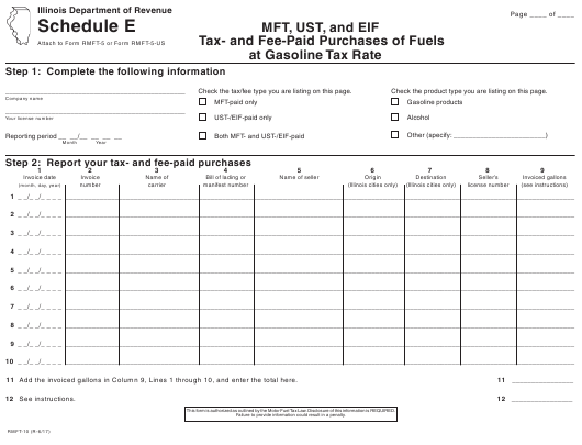 Form RMFT-10 Schedule E  Printable Pdf