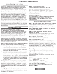 Instructions for Form Rcoa-1 - Coin-Operated Amusement Device Tax Decal Order Form