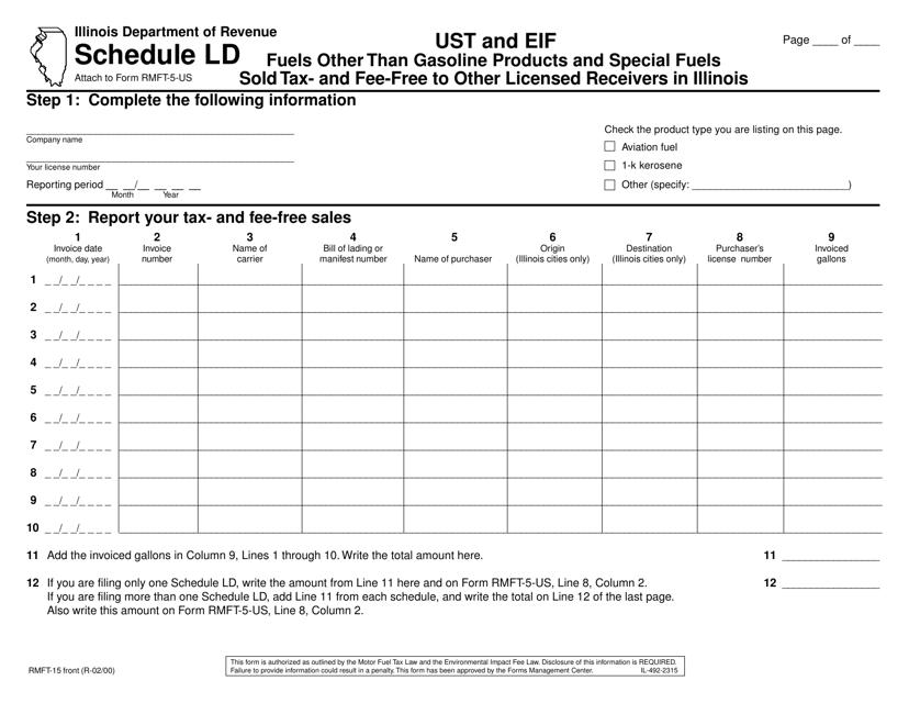 Form RMFT-15 Schedule LD Printable Pdf
