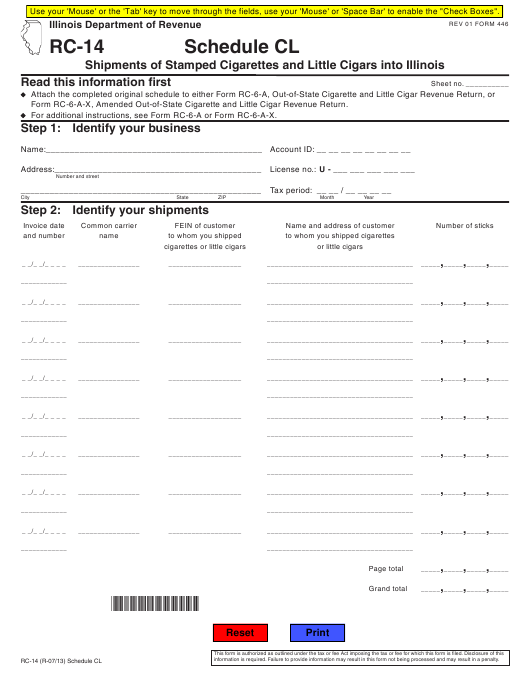 Form RC-14 Fillable Pdf