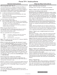 Instructions for Form Tp-1 - Tobacco Products Tax Return