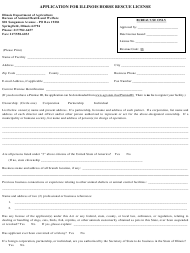 """Application for Illinois Horse Rescue License"" - Illinois"
