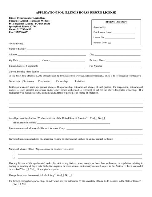 """Application for Illinois Horse Rescue License"" - Illinois Download Pdf"
