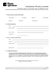 "Form IL406-1559 ""Livestock Waste Lagoon Certification of Construction or Modification"" - Illinois"