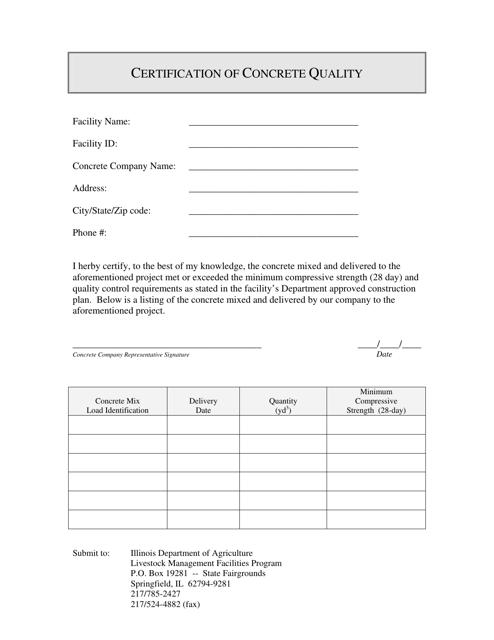 Certification of Concrete Quality - Illinois Download Pdf