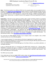 """Form PC-1A """"Idhr Employer Location(S) Report Form"""" - Illinois"""