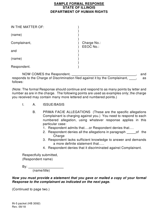 Form IN-5 PACKET  Printable Pdf