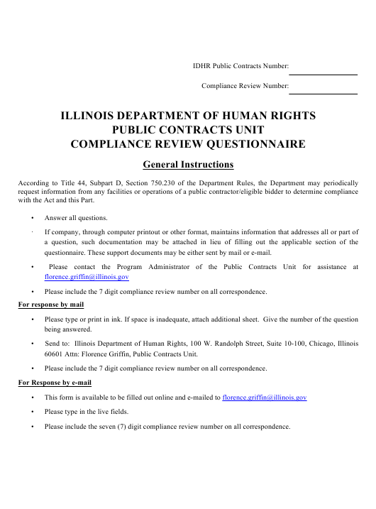 """Compliance Review Questionnaire"" - Illinois Download Pdf"
