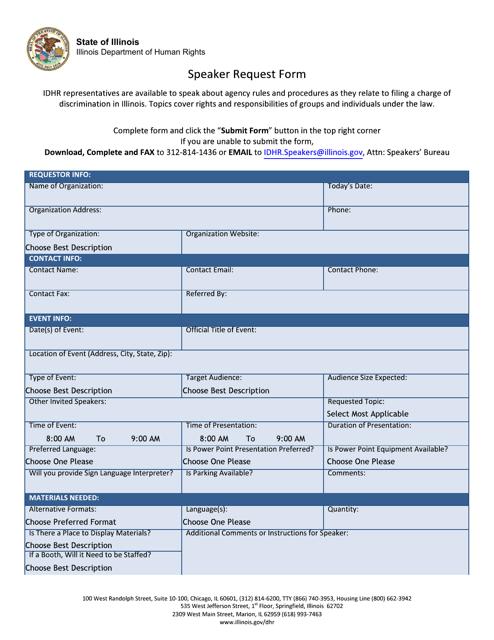 Speaker Request Form - Illinois Download Pdf