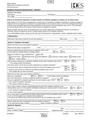 """Form ADJ004FC """"Academic Personnel Questionnaire - Claimant"""" - Illinois"""