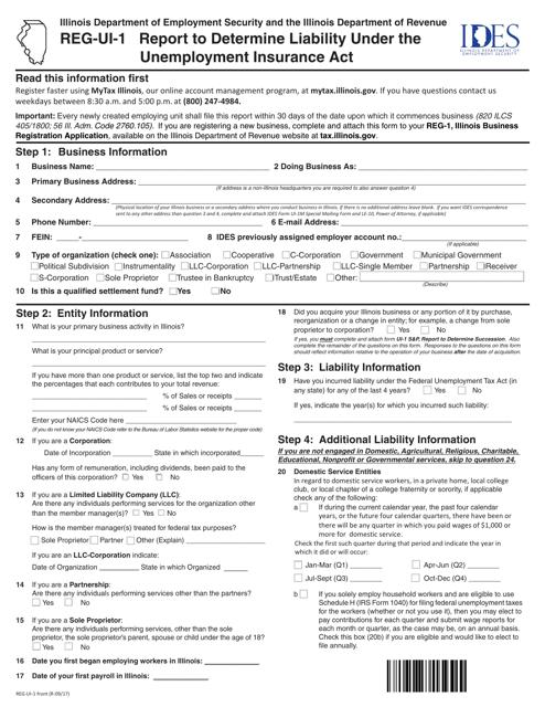 Form REG-UI-1 Printable Pdf