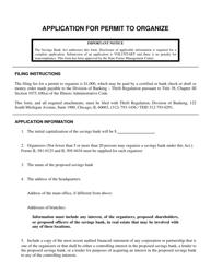 "Form IL505-0381 ""Application for Permit to Organize"" - Illinois"