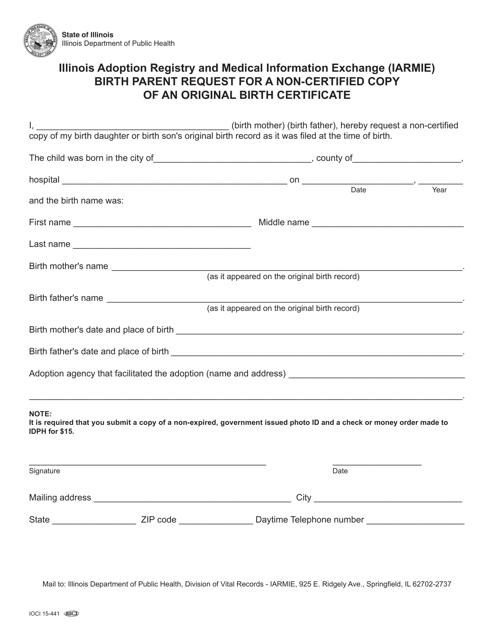 Form IOCI15-441  Printable Pdf