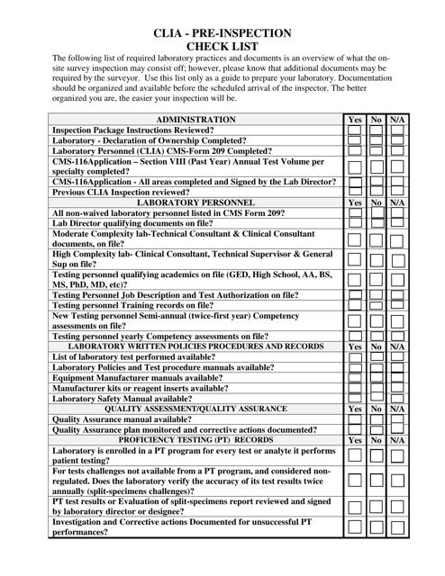 Clia - Pre-inspection Check List - Illinois Download Pdf