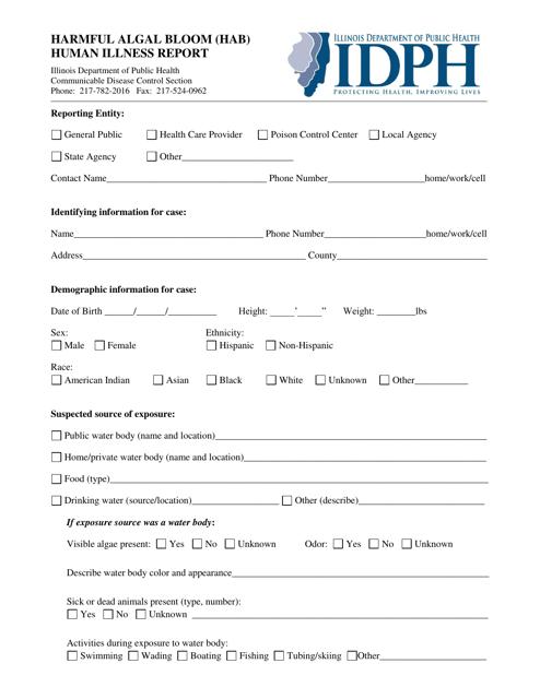 Harmful Algal Bloom (Hab) Human Illness Report Form - Illinois Download Pdf