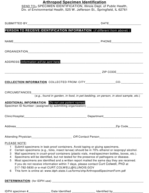 """Arthropod Specimen Identification Form"" - Illinois Download Pdf"