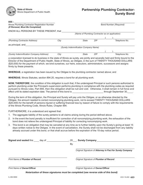 Form IL482-0689  Printable Pdf