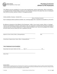 "Form IL482-0680 ""Plumbing Contractor Affidavit of No Employees"" - Illinois"