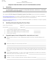 Form CFS 591 Request for Expanded Capacity Foster Home License - Illinois